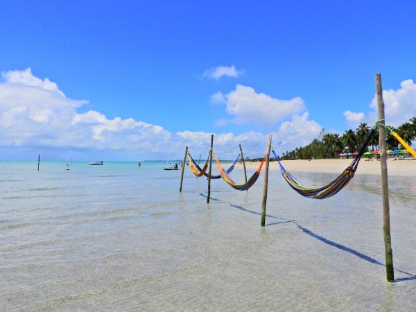 Praia de Maragogi com redes alinhadas na beira do mar